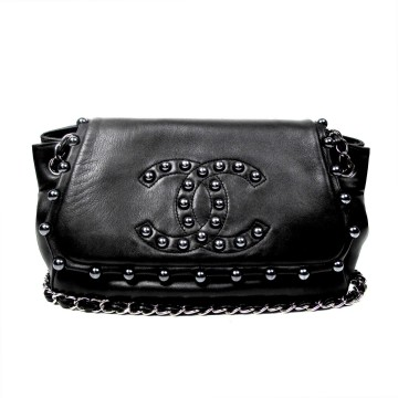 Chanel | CHANEL PEARL JUMBO SHOULDER BAG - BLACK LEATHER CC CHAIN LAMBSKIN FLAP HANDBAG