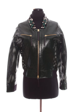 Marni | Pine Green Perforated Leather Bomber, Beaded Collar