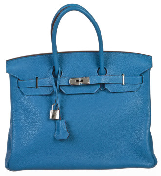 Hermès | Hermes Mykonos Blue Clemence Leather 35cm Birkin Bag SHW NEW