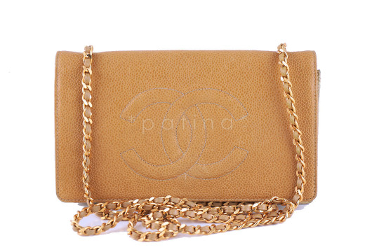 Chanel | Chanel Beige Vintage Classic Caviar Timeless WOC Wallet on Chain Mini Flap Bag