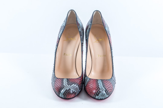 Christian Louboutin | Bluish And Red Snake Skin Pumps