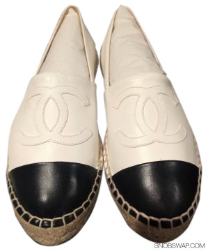 Chanel | CHANEL 15S BNIB WHITE/BLACK CHANEL LEATHER ESPADRILLES FLATS CAP CC SHOE SZ 35