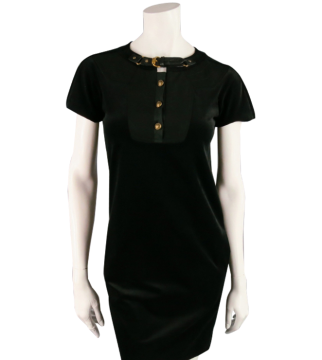 Gucci   Gucci Size 2 Black Cotton Blend With Buckle Collar Dress