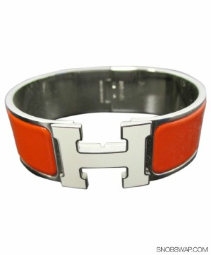 Hermès | Hermes 1 Inch Wide Clic Clac GM Bracelet in Orange Enamel w/ White