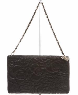 Chanel   Chanel Black Leather Camellia Embossed Clutch Handbag