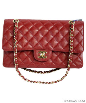 Chanel | Chanel Medium Red Caviar Shoulder Bag with Double Flap