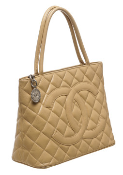 Chanel | Chanel Tan Quilted Caviar Leather Medallion Tote Handbag
