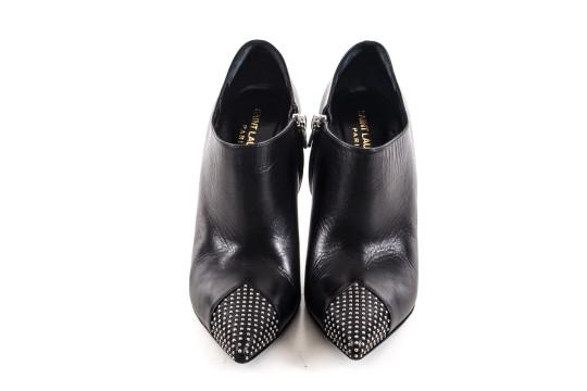 Saint Laurent | Black Leather Grommet Pointy Booties