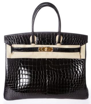 Hermès | Hermes Birkin Noir (black) 35cm Porosus Crocodile Handbag Ghw New