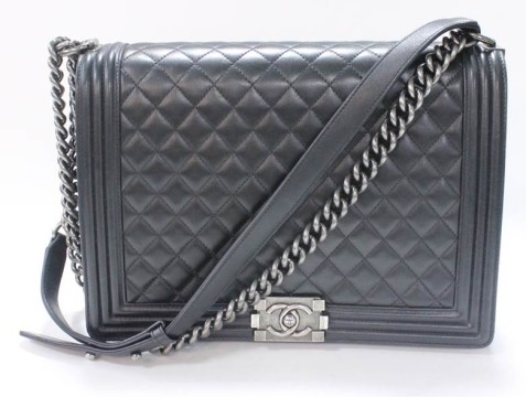 Chanel | Chanel Black Lambskin Jumbo Le Boy Bag