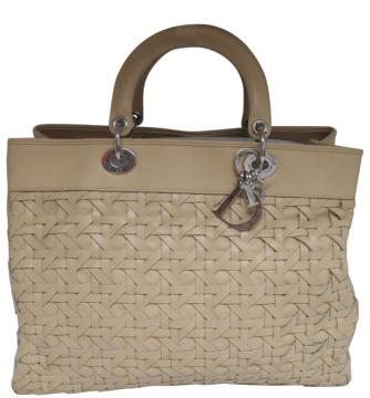 Dior | Christian Dior Lady Dior Avenue Beige Woven Tote Bag