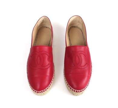 Chanel | Chanel Red Lambskin Leather CC Logo Espadrille Shoes