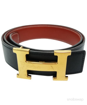 Hermès | Hermes vintage black/brown leather belt with gold H buckle~75