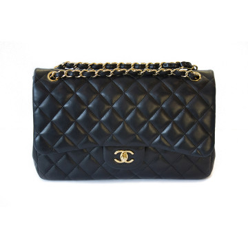 Chanel   chanel Lambskin Quilted Jumbo Double Flap