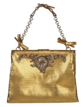Prada   Prada Gold Sequin Chain Handle Clutch Handbag