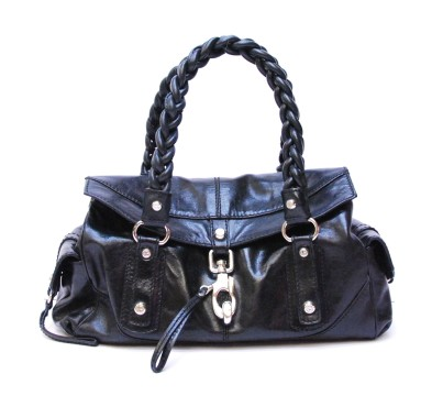 Francesco Biasia | Authentic FRANCISCO BIASIA Black Leather Handbag Shoulder Bag Purse