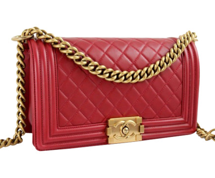 Chanel | Chanel Medium Dark Red Quilted Lambskin Leather Le Boy Flap Bag W/ghw Mint!