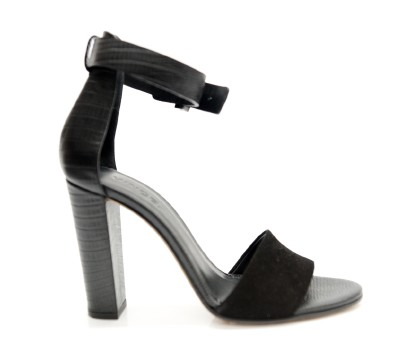 Vince | Vince Black Suede & Reptile High Heel Sandals