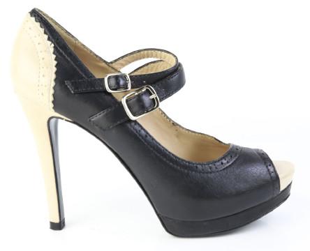 Pour La Victoire | Pour La Victoire Black & Cream Leather Double Buckle Peep Toe Pumps