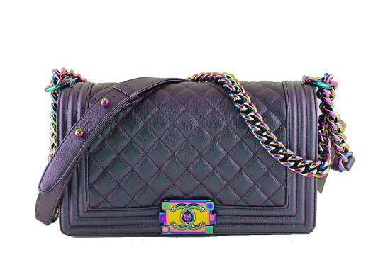 Chanel   Nwt 16c Chanel Iridescent Purple Le Boy Classic Flap, Medium Goatskin Bag
