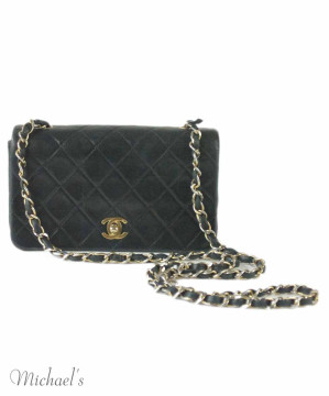 Chanel   Chanel Small Classic Vintage Navy Quilted Leather Bag