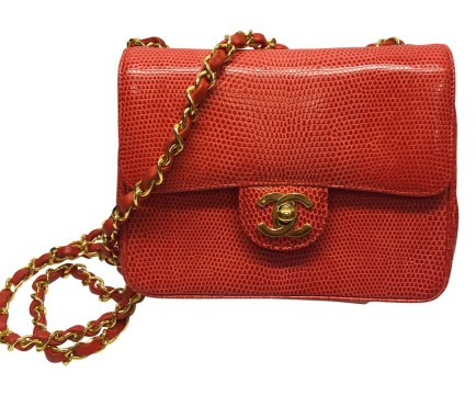Chanel | Chanel Coral Red Lizard Classic Bag