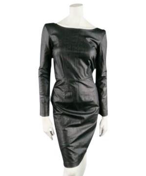 Karl Lagerfeld | KARL LAGERFELD Size 6 Black Long Sleeve Leatherette Dress
