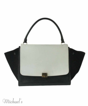 Céline | Celine White and Black Leather Gold Hardware Tote w/ Dust Cover