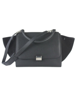 Céline | Celine Black Grained Leather Silver Trim Bag W/ Dust Bag