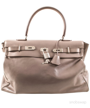 Hermès | Hermes Gray Leather Bag with Padlock