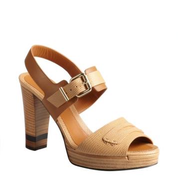 Fendi | Fendi Nwot $795 Lizard Embossed Leather Penny Block Heel Size 36.5 TAN Sandals