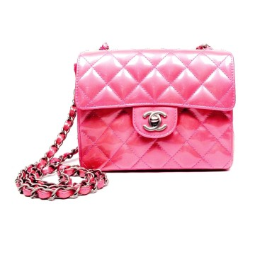 Chanel   CHANEL PINK PATENT MINI FLAP BAG - SHOULDER HANDBAG QUILTED LEATHER CLASSIC CC