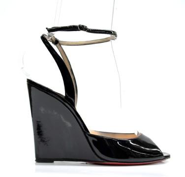Christian Louboutin | Christian Louboutin Black Patent Leather Wedges