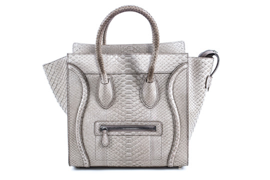 Céline | Celine Beige Python Embossed Mini Luggage Tote Bag