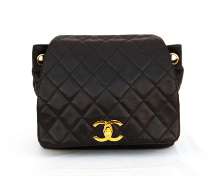 Chanel | Chanel Black/Gold Quilted Lambskin Leather Backpack