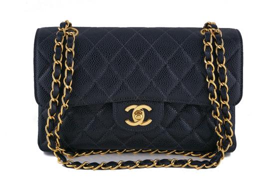 Chanel   Chanel Black Caviar Medium-small Classic 2.55 Double Flap Bag