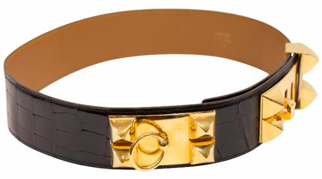 Hermès | Hermes Black Crocodile Belt W/ Gold Hardware