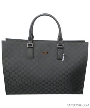 Gucci | Gucci Black Monogram Jacquard Briefcase with Leather Handles - NWT $1350+