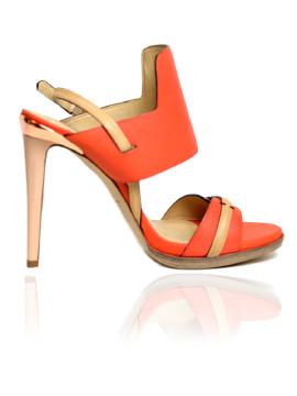 Reed Krakoff | REED KRAKOFF Orange Coral Leather Backsling Heels.39