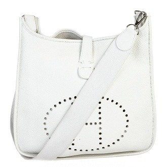 Hermès   Hermes Blanc (White) Clemence Leather Evelyne II Handbag