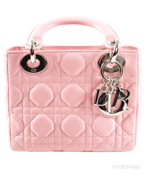 Dior | Dior Pink Leather Quilted Mini-Bag with Silver Letter Charms
