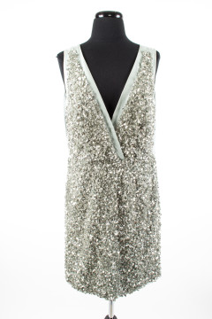 Stella McCartney | Stella McCartney Pale Blue Sleeveless Silk Sequined Front Dress
