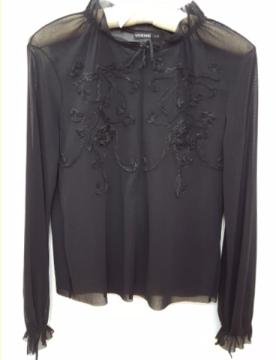 Vivienne Tam   Black Nylon Mesh Embroidered Zip Top