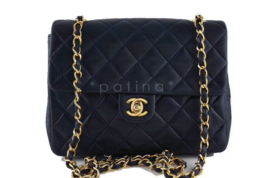 Chanel | Chanel Dark Navy Lambskin Small Classic Quilted Flap Bag