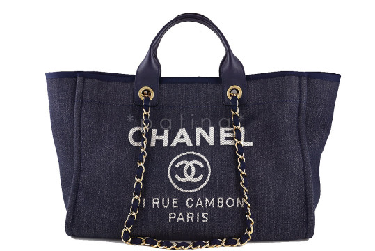 Chanel | Chanel Dark Blue Deauville GM Denim Two-Way Beach Tote Bag  $3,099.00 Color: Blue