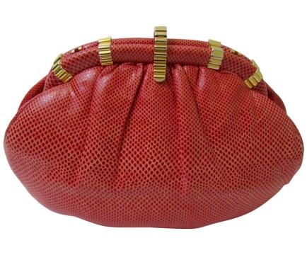 Judith Leiber   Judith Leiber Red Snakeskin Leather Clutch Handbag Judith Leiber Red Purse