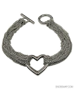 Tiffany & Co.   Tiffany & Co. Silver Heart Multi Strand Mesh Bracelet