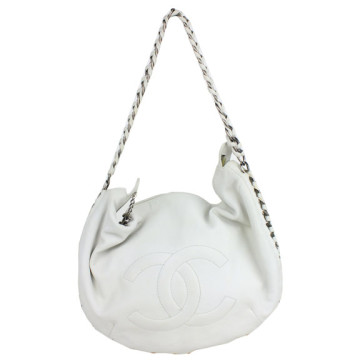 Chanel | Chanel White Leather Chain Strap Hobo Bag
