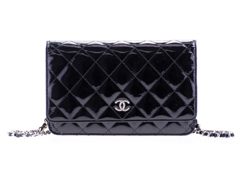 Chanel | Chanel Black Patent Leather Wallet On Chain Woc Bag