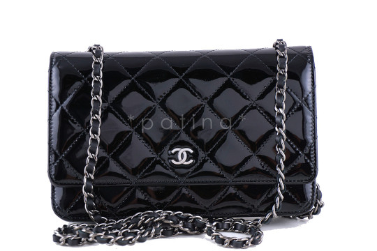 Chanel   Chanel Black Patent Classic Quilted WOC Wallet on Chain Flap Bag